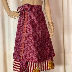 Dresses & Skirts - One of a kind double layered silk wrap skirt.